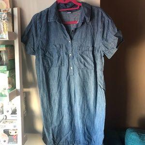 Short-Sleeved Denim Dress